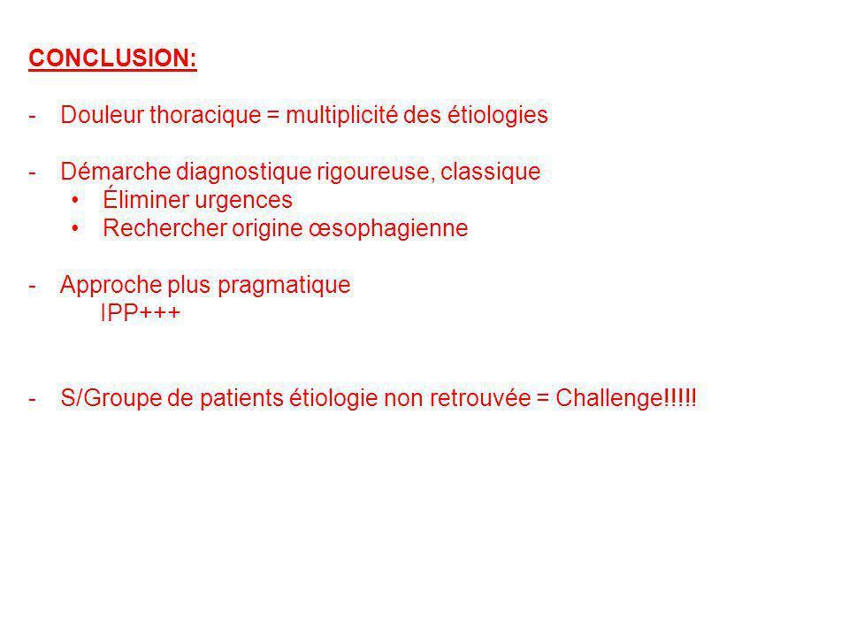 CONCLUSION: -Douleur thoracique = multiplicité des étiologies -Démarche diagnostique rigoureuse, classique Éliminer urgences Rechercher origine œsopha