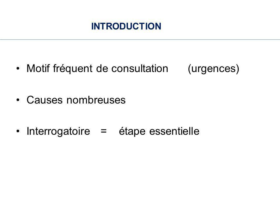 INTRODUCTION Motif fréquent de consultation (urgences) Causes nombreuses Interrogatoire = étape essentielle