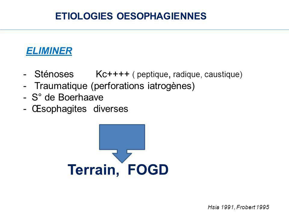 ETIOLOGIES OESOPHAGIENNES ELIMINER - Sténoses Kc++++ ( peptique, radique, caustique) - Traumatique (perforations iatrogènes) - S° de Boerhaave - Œsoph