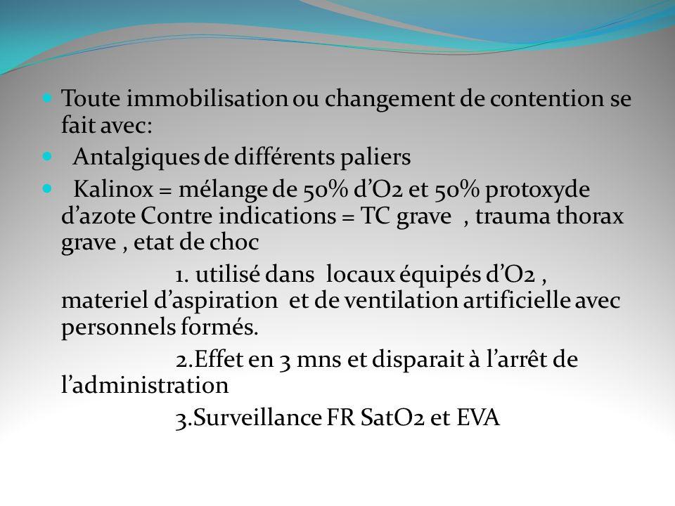 Toute immobilisation ou changement de contention se fait avec: Antalgiques de différents paliers Kalinox = mélange de 50% dO2 et 50% protoxyde dazote Contre indications = TC grave, trauma thorax grave, etat de choc 1.