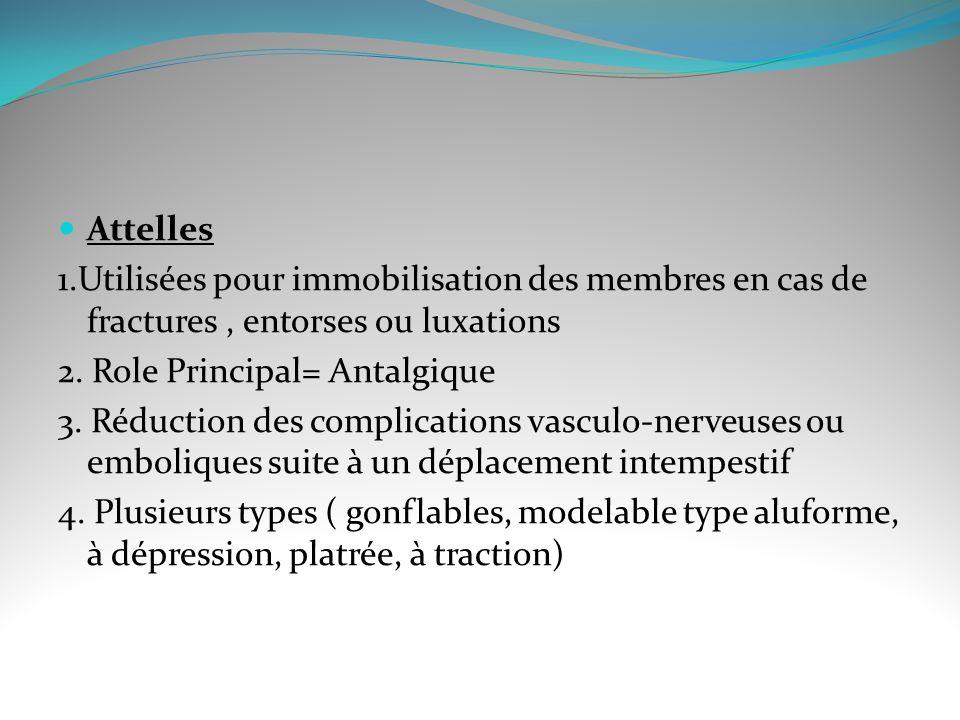 Attelles 1.Utilisées pour immobilisation des membres en cas de fractures, entorses ou luxations 2.