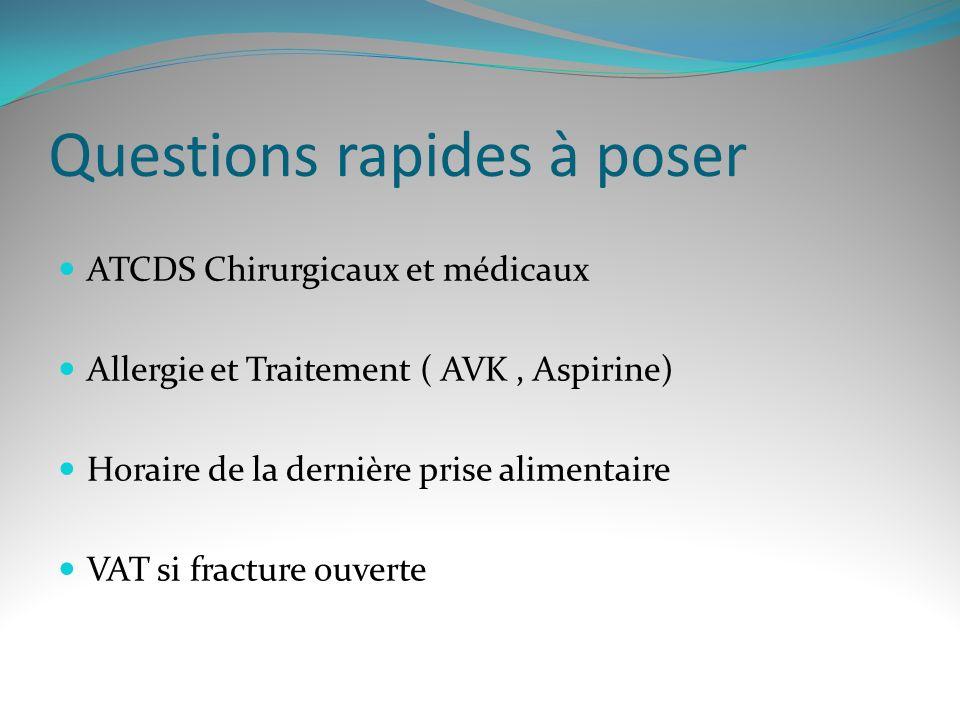 Questions rapides à poser ATCDS Chirurgicaux et médicaux Allergie et Traitement ( AVK, Aspirine) Horaire de la dernière prise alimentaire VAT si fracture ouverte