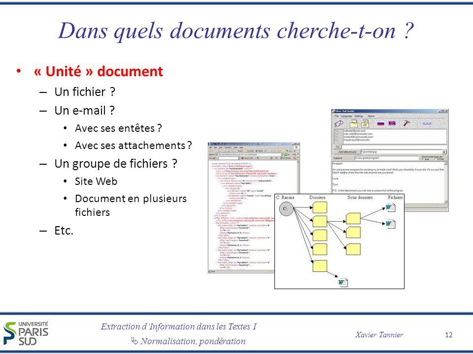 Extraction dInformation dans les Textes I Normalisation, pondération Xavier Tannier Dans quels documents cherche-t-on ? « Unité » document – Un fichie