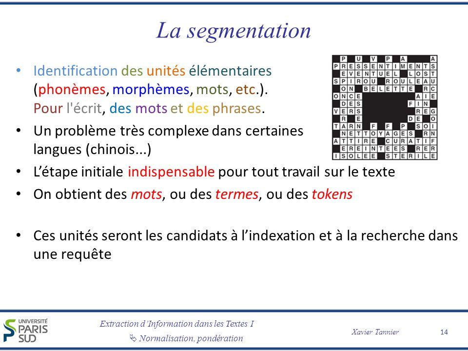 Extraction dInformation dans les Textes I Normalisation, pondération Xavier Tannier La segmentation Identification des unités élémentaires (phonèmes, morphèmes, mots, etc.).