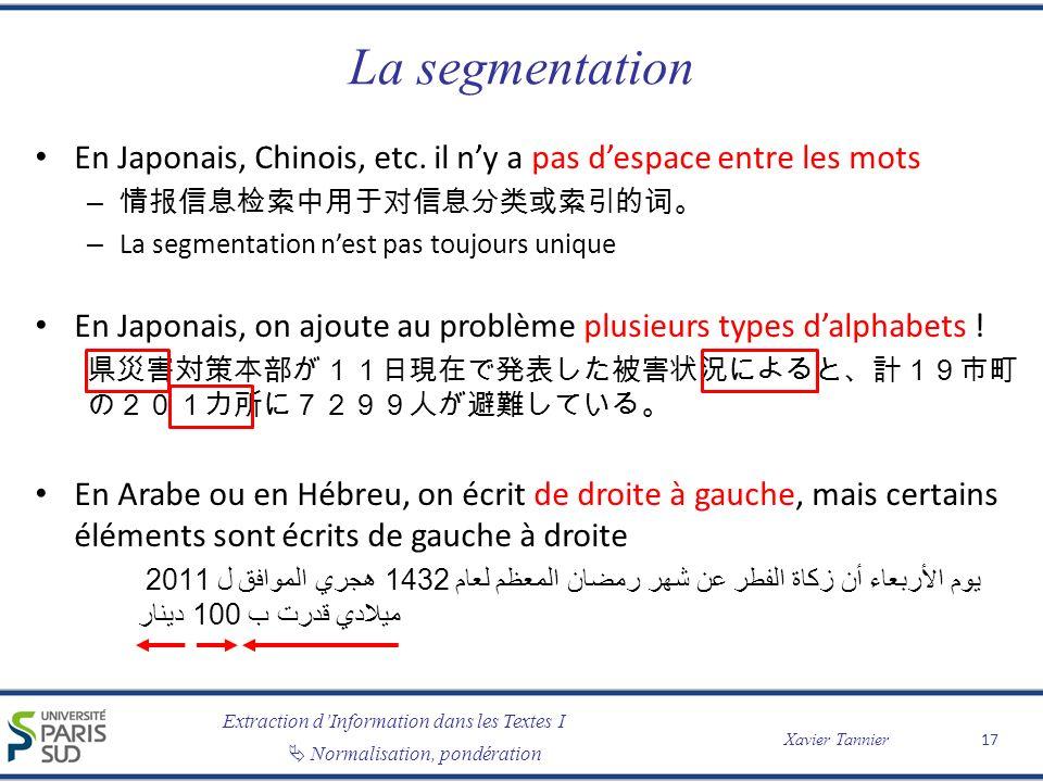 Extraction dInformation dans les Textes I Normalisation, pondération Xavier Tannier La segmentation En Japonais, Chinois, etc. il ny a pas despace ent