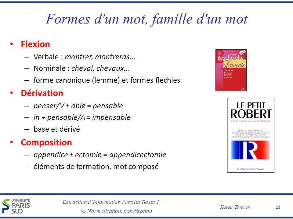 Extraction dInformation dans les Textes I Normalisation, pondération Xavier Tannier Formes d'un mot, famille d'un mot Flexion – Verbale : montrer, mon