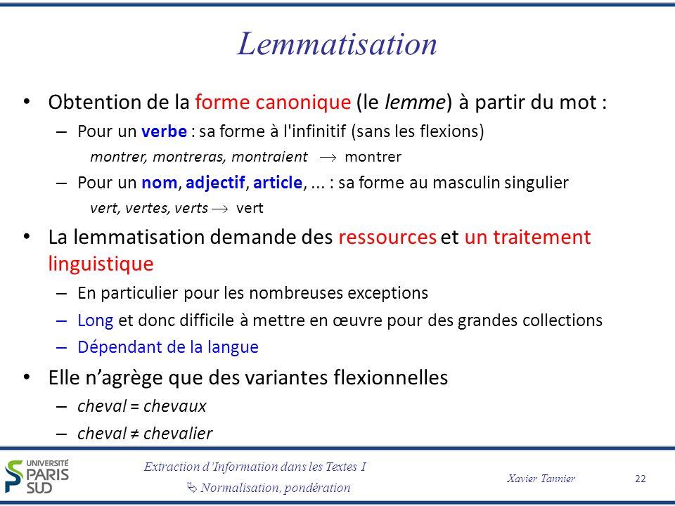 Extraction dInformation dans les Textes I Normalisation, pondération Xavier Tannier Lemmatisation Obtention de la forme canonique (le lemme) à partir
