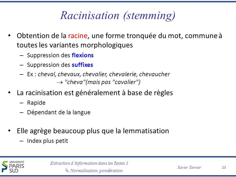 Extraction dInformation dans les Textes I Normalisation, pondération Xavier Tannier Racinisation (stemming) Obtention de la racine, une forme tronquée