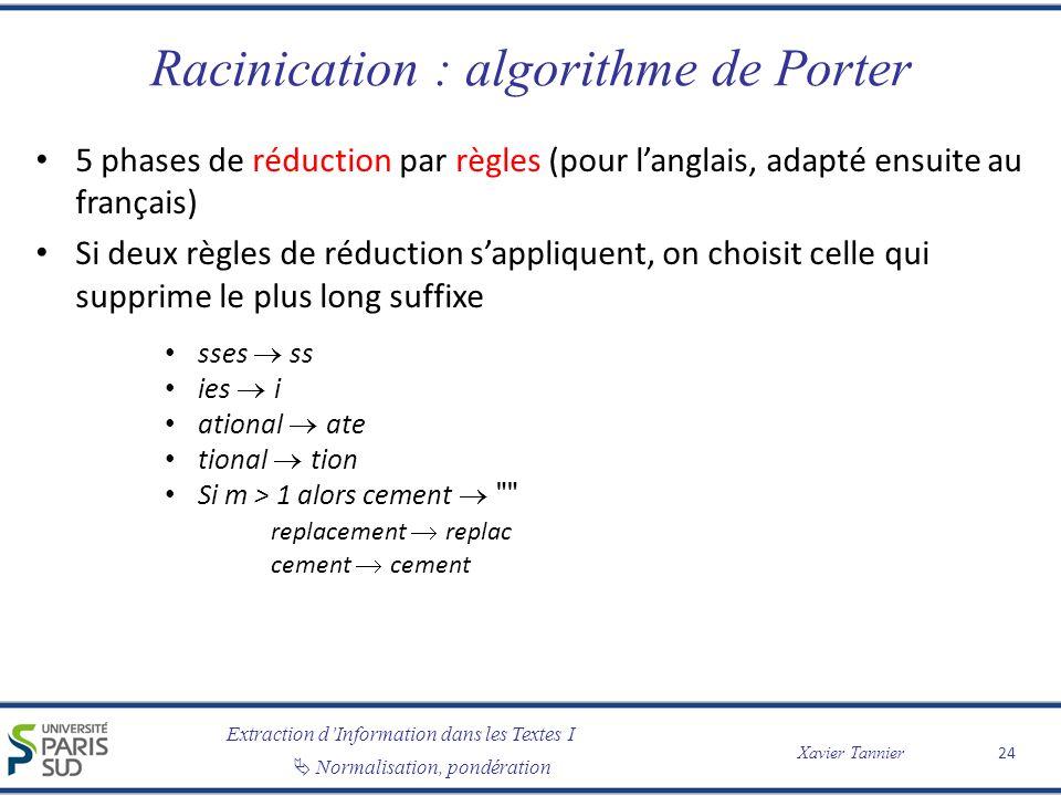 Extraction dInformation dans les Textes I Normalisation, pondération Xavier Tannier Racinication : algorithme de Porter 5 phases de réduction par règl