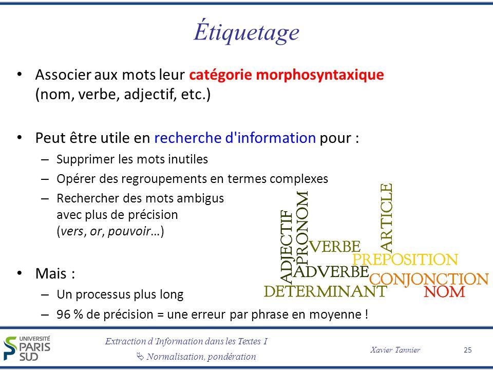 Extraction dInformation dans les Textes I Normalisation, pondération Xavier Tannier Étiquetage Associer aux mots leur catégorie morphosyntaxique (nom,