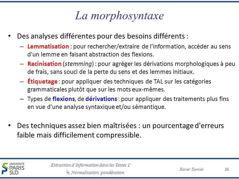Extraction dInformation dans les Textes I Normalisation, pondération Xavier Tannier La morphosyntaxe Des analyses différentes pour des besoins différe
