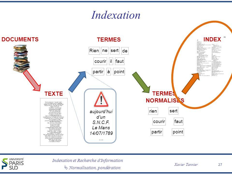 Indexation et Recherche d Information Xavier Tannier Normalisation, pondération Indexation 27 TEXTE Rien ne sert de courir; il faut partir à point : Le lièvre et la tortue en sont un témoignage.
