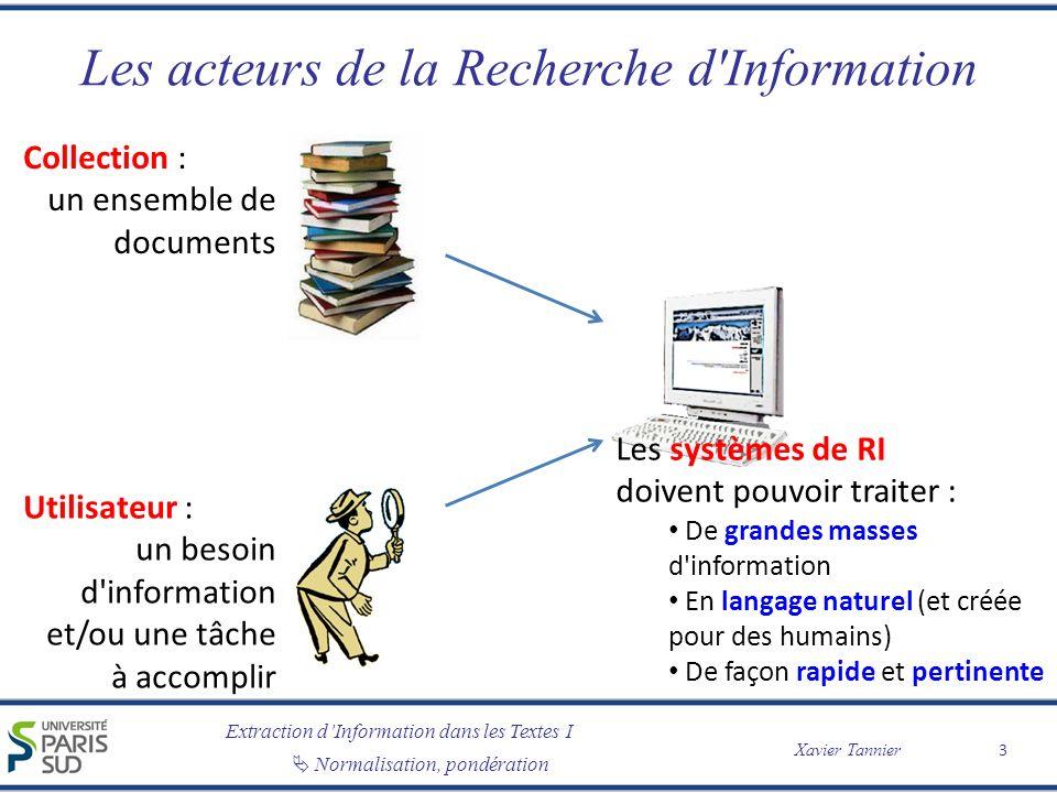 Extraction dInformation dans les Textes I Normalisation, pondération Xavier Tannier Les acteurs de la Recherche d'Information Utilisateur : un besoin