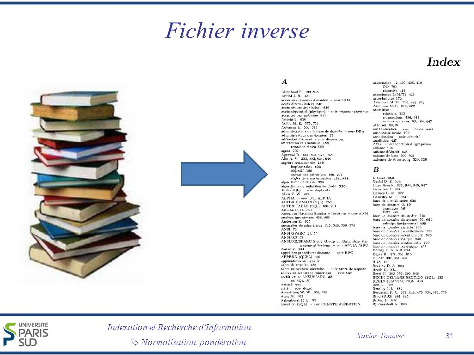 Indexation et Recherche d Information Xavier Tannier Normalisation, pondération Fichier inverse 31
