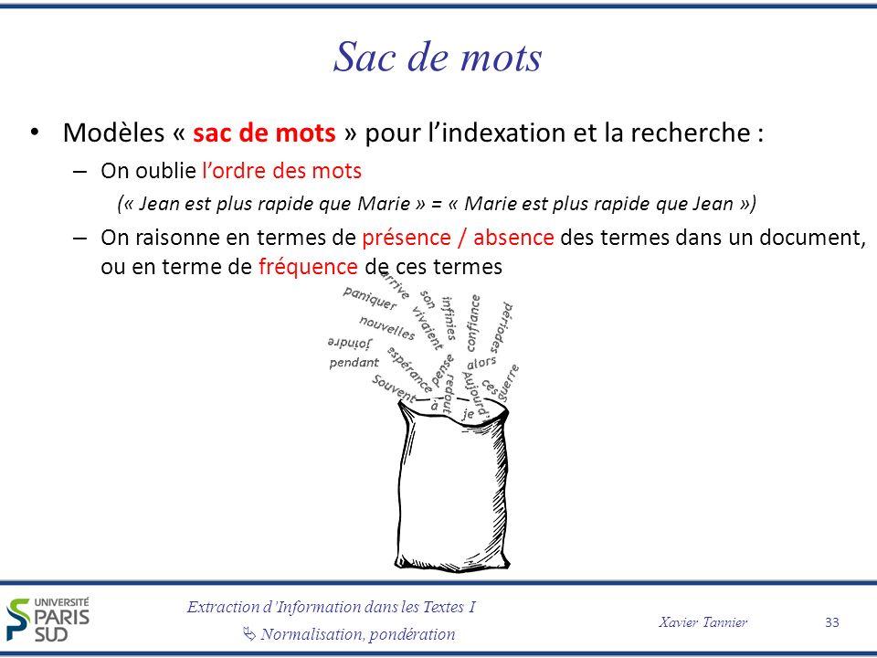 Extraction dInformation dans les Textes I Normalisation, pondération Xavier Tannier Sac de mots Modèles « sac de mots » pour lindexation et la recherc