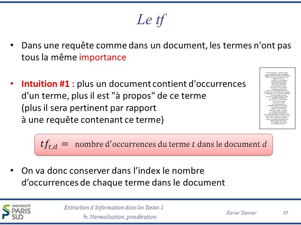 Extraction dInformation dans les Textes I Normalisation, pondération Xavier Tannier Le tf 37 Rien ne sert de courir; il faut partir à point : Le lièvre et la tortue en sont un témoignage.