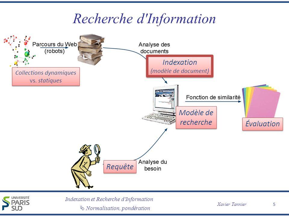 Indexation et Recherche d'Information Xavier Tannier Normalisation, pondération Recherche d'Information 5 Collections dynamiques vs. statiques Collect