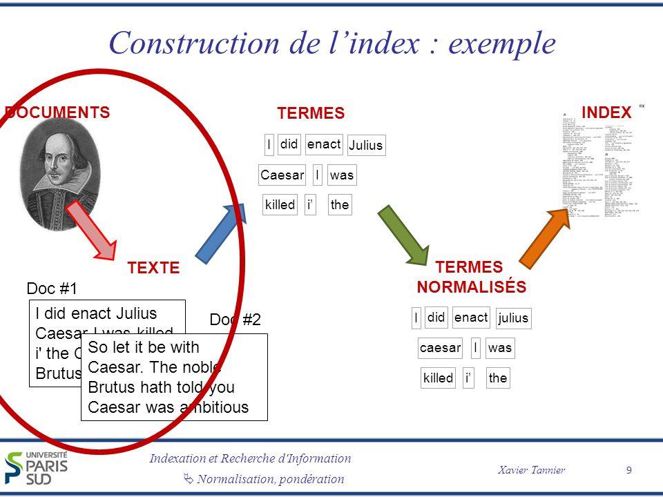 Indexation et Recherche d'Information Xavier Tannier Normalisation, pondération Construction de lindex : exemple 9 TEXTE TERMES I didenact Julius Caes
