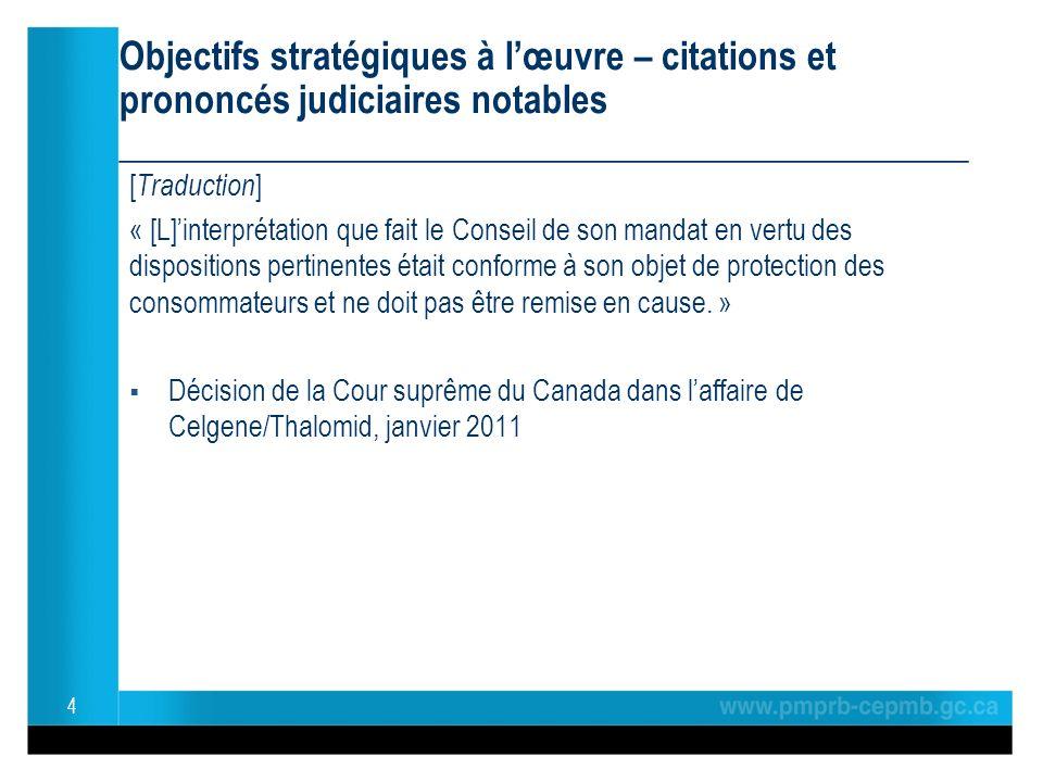 Objectifs stratégiques à lœuvre – citations et prononcés judiciaires notables ______________________________________________ [ Traduction ] « [L]interprétation que fait le Conseil de son mandat en vertu des dispositions pertinentes était conforme à son objet de protection des consommateurs et ne doit pas être remise en cause.