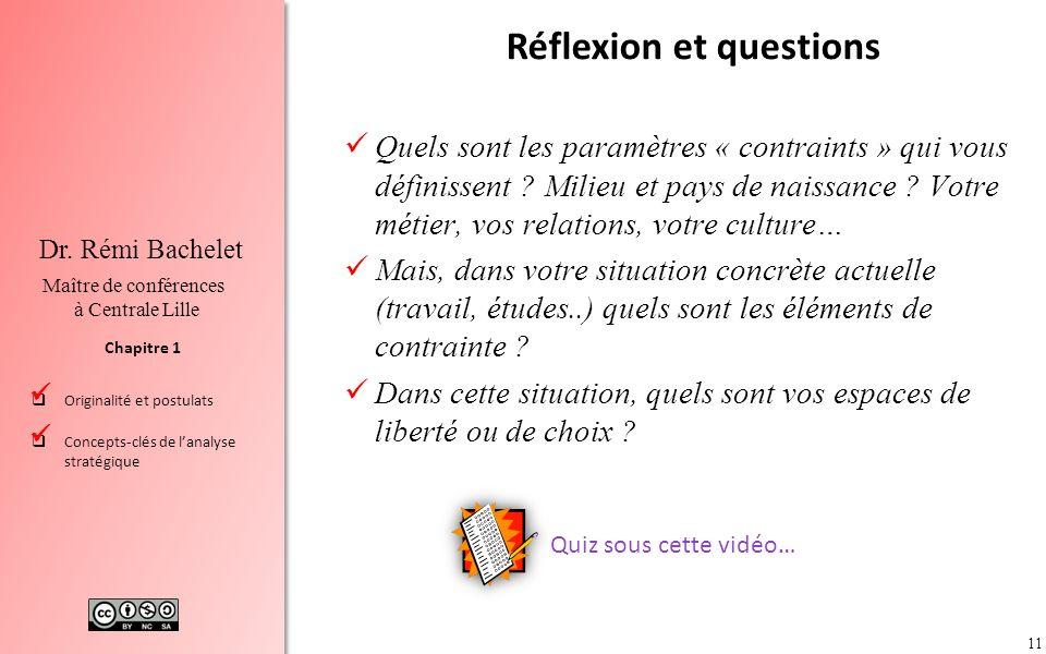 11 Chapitre 1 Dr. Rémi Bachelet Maître de conférences à Centrale Lille Originalité et postulats Concepts-clés de lanalyse stratégique Réflexion et que
