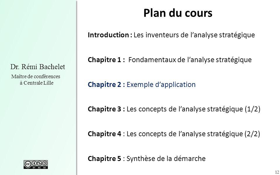 12 Dr. Rémi Bachelet Maître de conférences à Centrale Lille Plan du cours Introduction : Les inventeurs de lanalyse stratégique Chapitre 1 : Fondament
