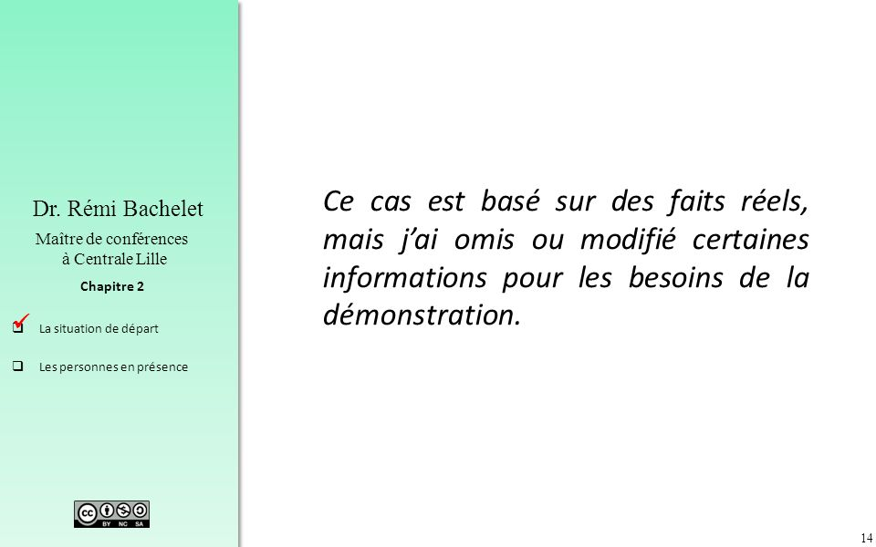 14 Chapitre 2 Dr. Rémi Bachelet Maître de conférences à Centrale Lille La situation de départ Les personnes en présence Ce cas est basé sur des faits