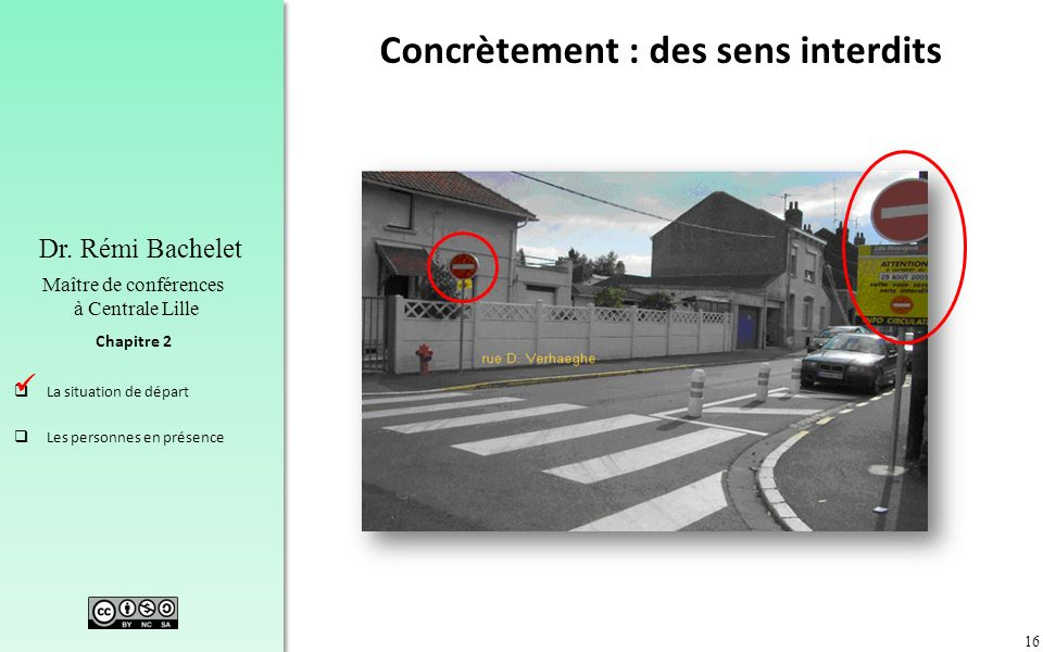 16 Chapitre 2 Dr. Rémi Bachelet Maître de conférences à Centrale Lille La situation de départ Les personnes en présence Concrètement : des sens interd
