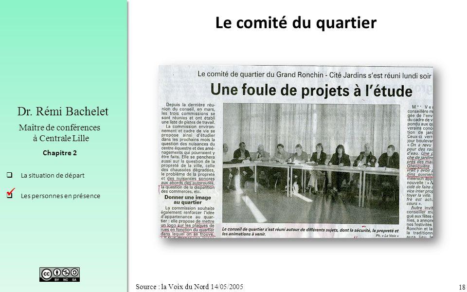 18 Chapitre 2 Dr. Rémi Bachelet Maître de conférences à Centrale Lille La situation de départ Les personnes en présence Source : la Voix du Nord 14/05