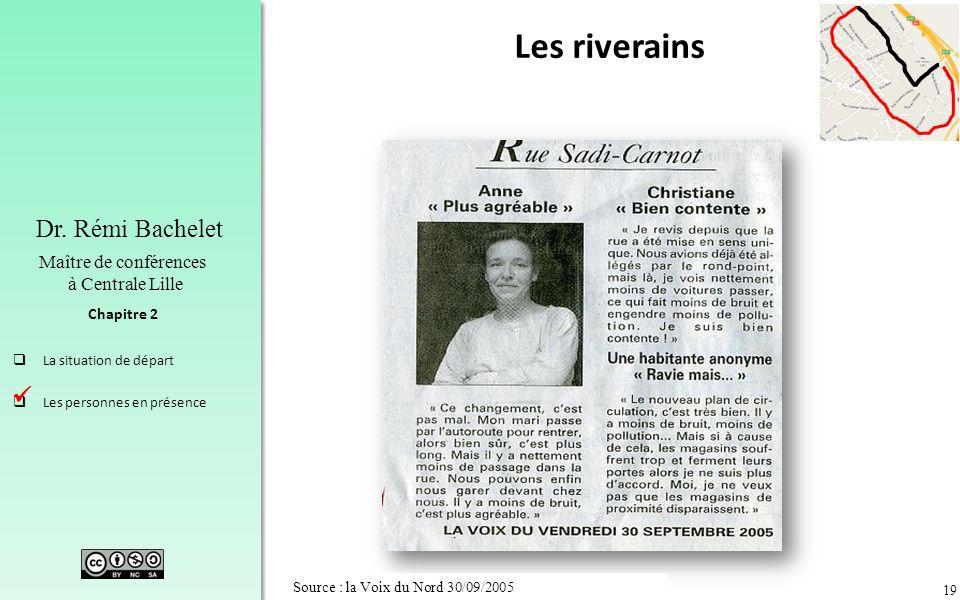 19 Chapitre 2 Dr. Rémi Bachelet Maître de conférences à Centrale Lille La situation de départ Les personnes en présence Source : la Voix du Nord 30/09