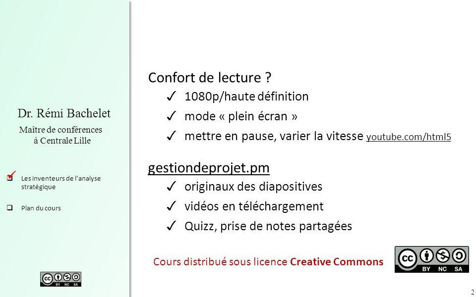 2 Dr. Rémi Bachelet Maître de conférences à Centrale Lille Les inventeurs de lanalyse stratégique Plan du cours Confort de lecture ? 1080p/haute défin