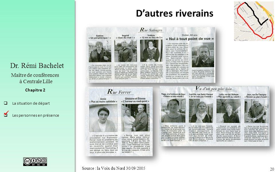 20 Chapitre 2 Dr. Rémi Bachelet Maître de conférences à Centrale Lille La situation de départ Les personnes en présence Source : la Voix du Nord 30/09