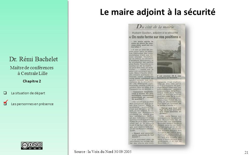 21 Chapitre 2 Dr. Rémi Bachelet Maître de conférences à Centrale Lille La situation de départ Les personnes en présence Source : la Voix du Nord 30/09