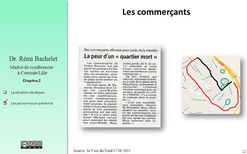 22 Chapitre 2 Dr. Rémi Bachelet Maître de conférences à Centrale Lille La situation de départ Les personnes en présence Source : la Voix du Nord 07/09