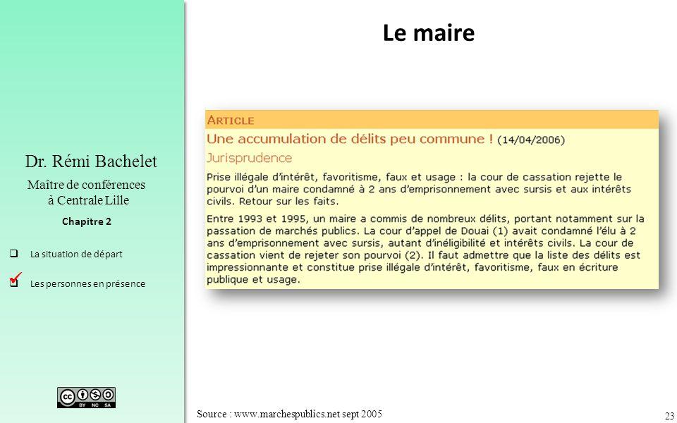 23 Chapitre 2 Dr. Rémi Bachelet Maître de conférences à Centrale Lille La situation de départ Les personnes en présence Source : www.marchespublics.ne