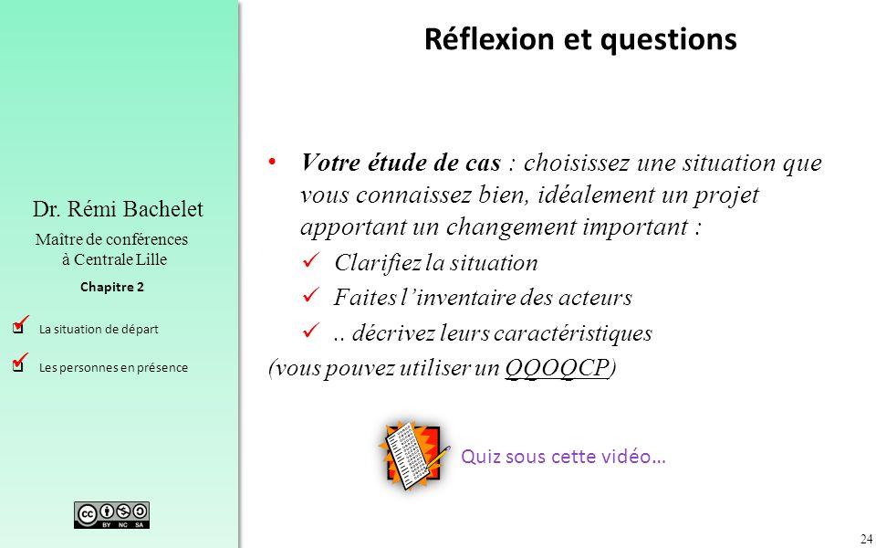 24 Chapitre 2 Dr. Rémi Bachelet Maître de conférences à Centrale Lille La situation de départ Les personnes en présence Réflexion et questions Votre é