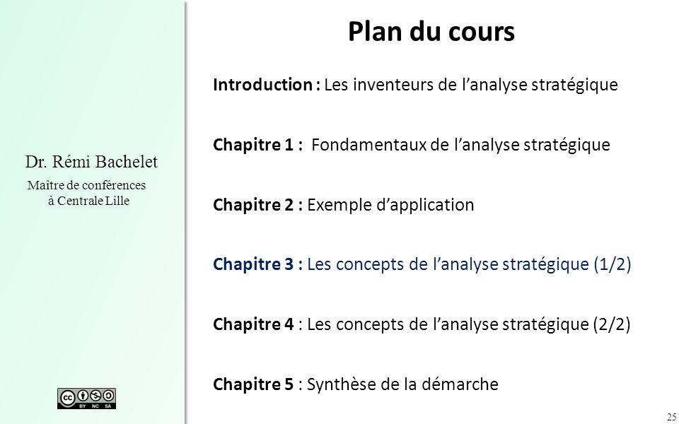 25 Dr. Rémi Bachelet Maître de conférences à Centrale Lille Plan du cours Introduction : Les inventeurs de lanalyse stratégique Chapitre 1 : Fondament