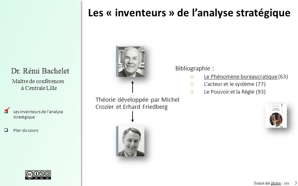3 Dr. Rémi Bachelet Maître de conférences à Centrale Lille Les inventeurs de lanalyse stratégique Plan du cours Source des photos : csophotos Les « in