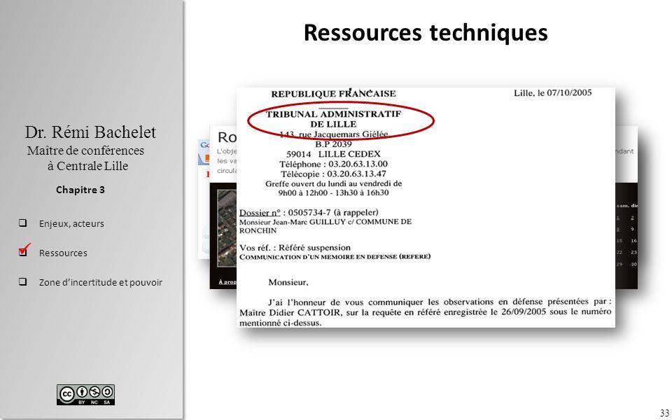 33 Dr. Rémi Bachelet Maître de conférences à Centrale Lille Enjeux, acteurs Ressources Zone dincertitude et pouvoir Chapitre 3 Ressources techniques
