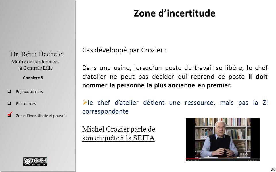 36 Dr. Rémi Bachelet Maître de conférences à Centrale Lille Enjeux, acteurs Ressources Zone dincertitude et pouvoir Chapitre 3 Zone dincertitude Cas d