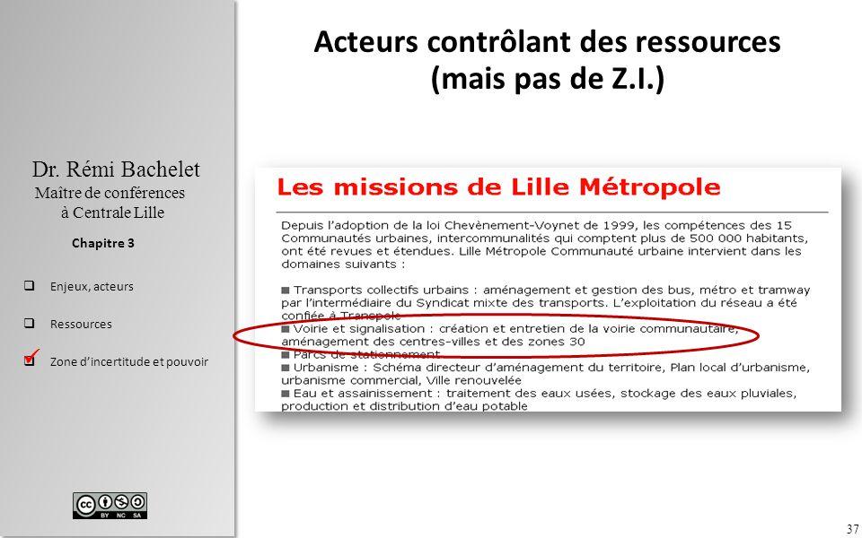 37 Dr. Rémi Bachelet Maître de conférences à Centrale Lille Enjeux, acteurs Ressources Zone dincertitude et pouvoir Chapitre 3 Acteurs contrôlant des