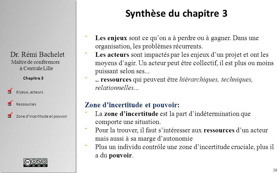 39 Dr. Rémi Bachelet Maître de conférences à Centrale Lille Enjeux, acteurs Ressources Zone dincertitude et pouvoir Chapitre 3 Synthèse du chapitre 3