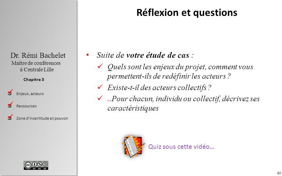 40 Dr. Rémi Bachelet Maître de conférences à Centrale Lille Enjeux, acteurs Ressources Zone dincertitude et pouvoir Chapitre 3 Réflexion et questions