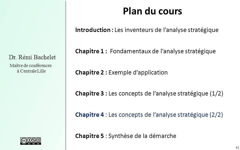41 Dr. Rémi Bachelet Maître de conférences à Centrale Lille Plan du cours Introduction : Les inventeurs de lanalyse stratégique Chapitre 1 : Fondament