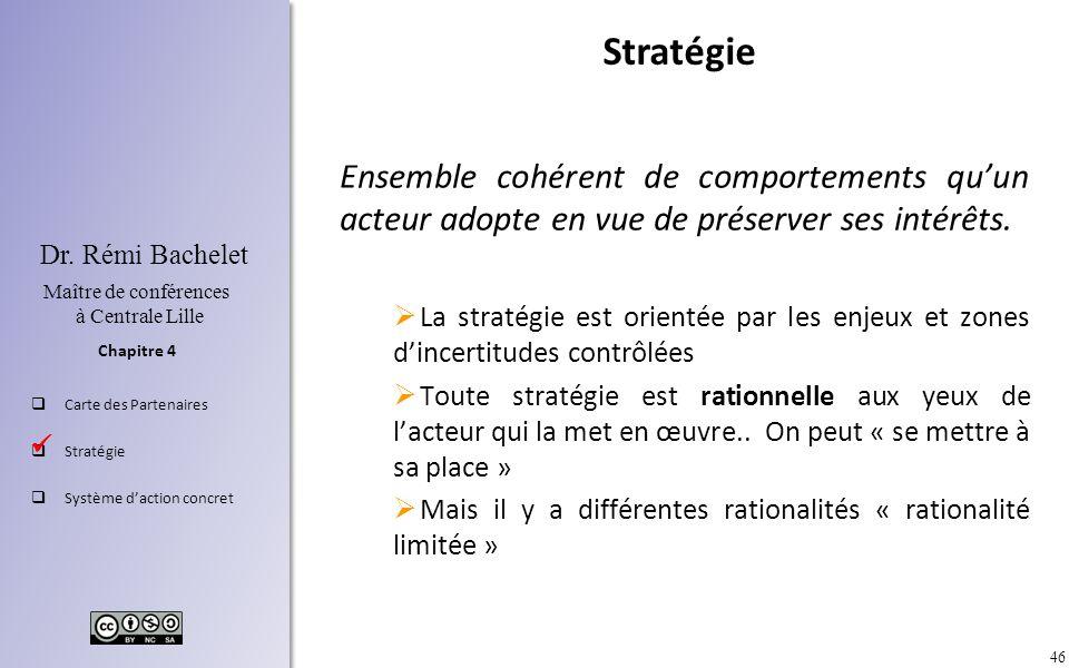 46 Chapitre 4 Dr. Rémi Bachelet Maître de conférences à Centrale Lille Carte des Partenaires Stratégie Système daction concret Ensemble cohérent de co