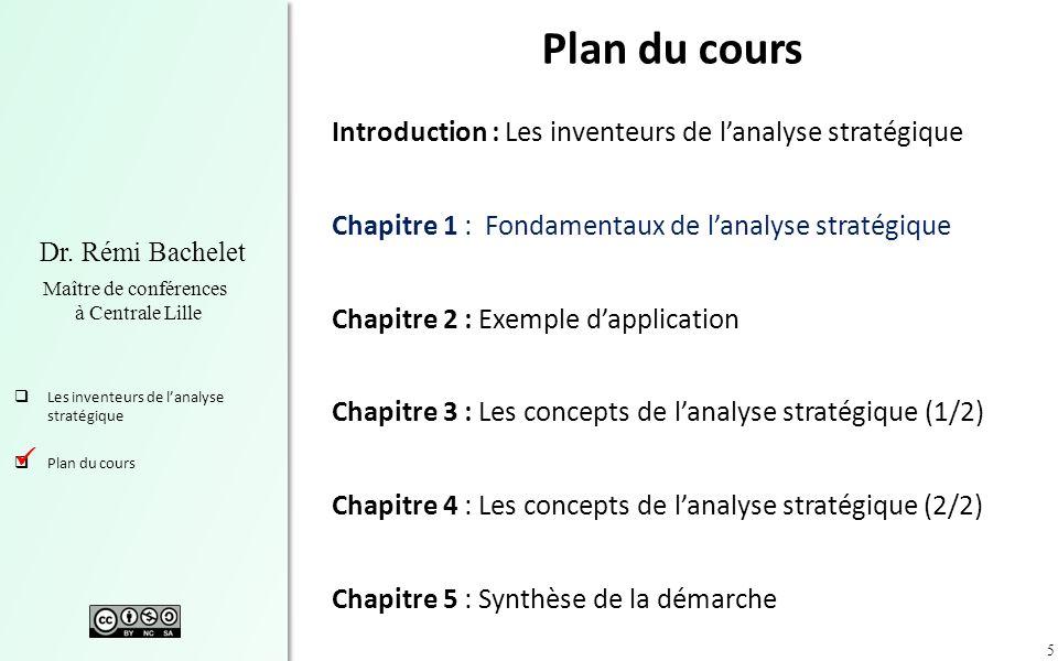 5 Dr. Rémi Bachelet Maître de conférences à Centrale Lille Les inventeurs de lanalyse stratégique Plan du cours Introduction : Les inventeurs de lanal
