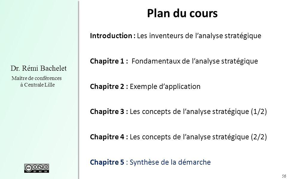 56 Dr. Rémi Bachelet Maître de conférences à Centrale Lille Plan du cours Introduction : Les inventeurs de lanalyse stratégique Chapitre 1 : Fondament