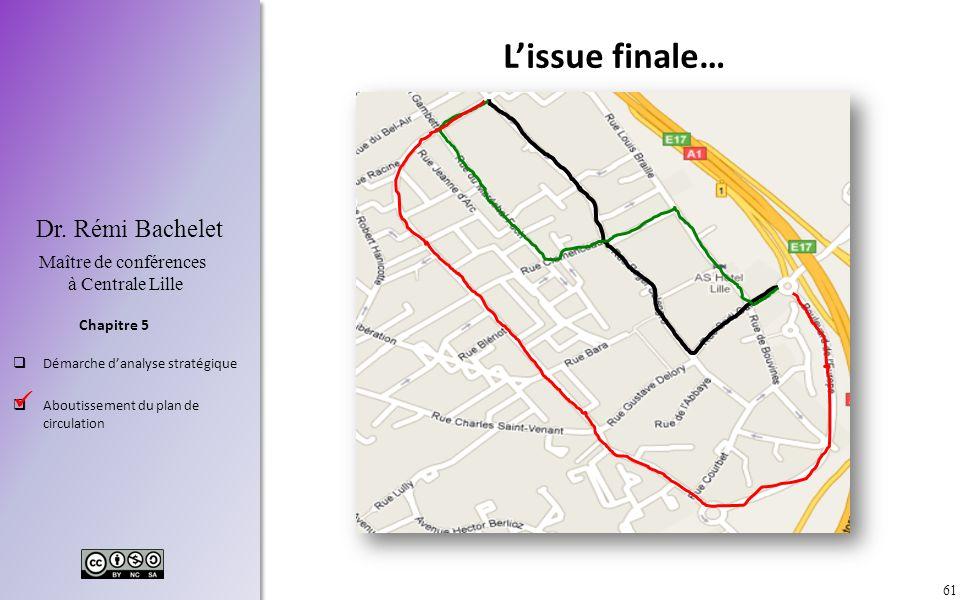 61 Chapitre 5 Dr. Rémi Bachelet Maître de conférences à Centrale Lille Démarche danalyse stratégique Aboutissement du plan de circulation Lissue final