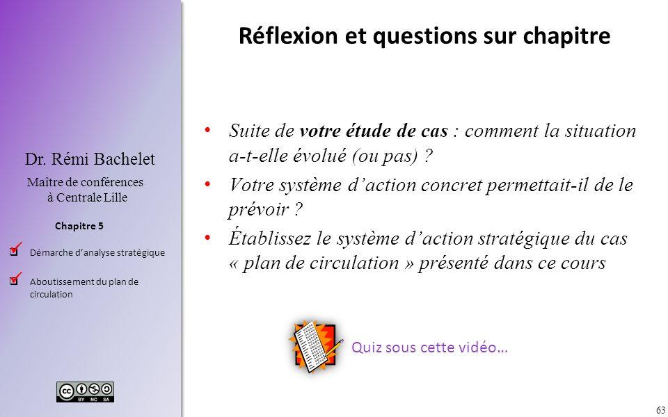 63 Chapitre 5 Dr. Rémi Bachelet Maître de conférences à Centrale Lille Démarche danalyse stratégique Aboutissement du plan de circulation Réflexion et