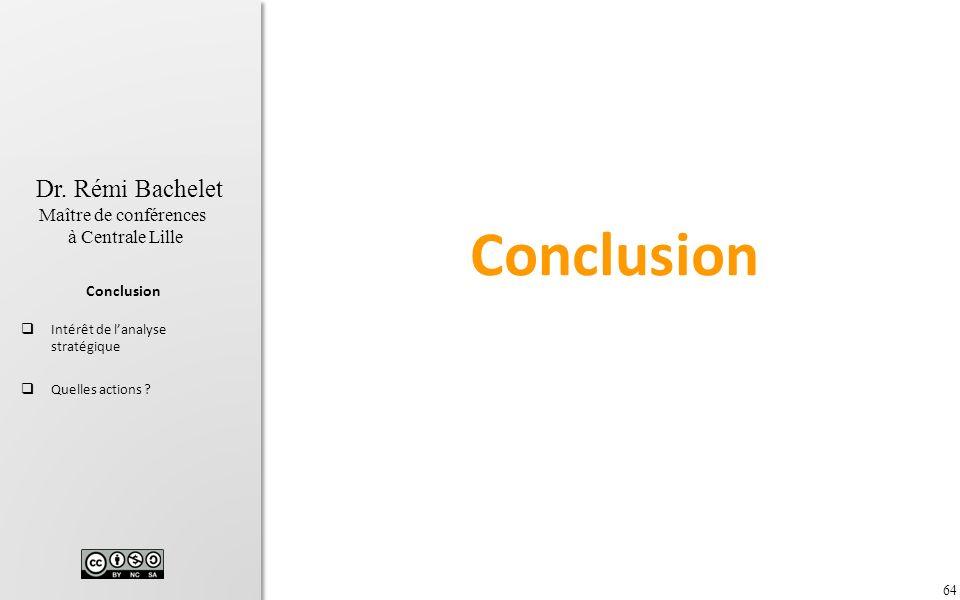 64 Dr. Rémi Bachelet Maître de conférences à Centrale Lille Conclusion Intérêt de lanalyse stratégique Quelles actions ? Conclusion