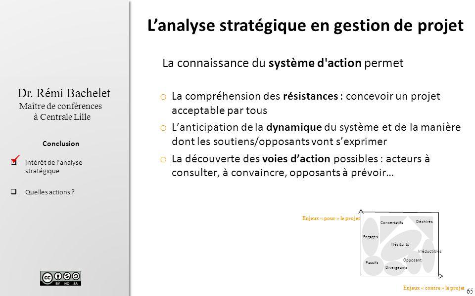 65 Dr. Rémi Bachelet Maître de conférences à Centrale Lille Conclusion Intérêt de lanalyse stratégique Quelles actions ? La connaissance du système d'